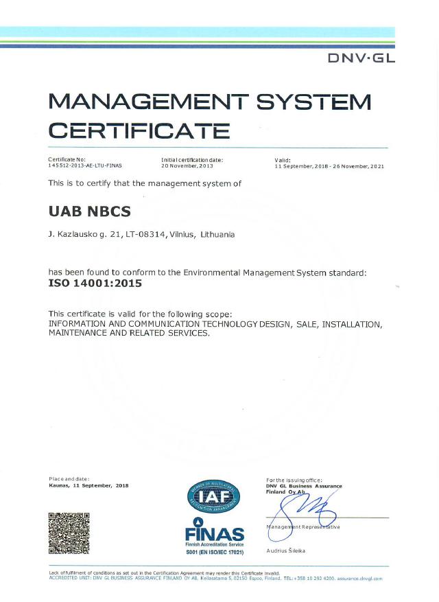 sertifikatas 14001.2015