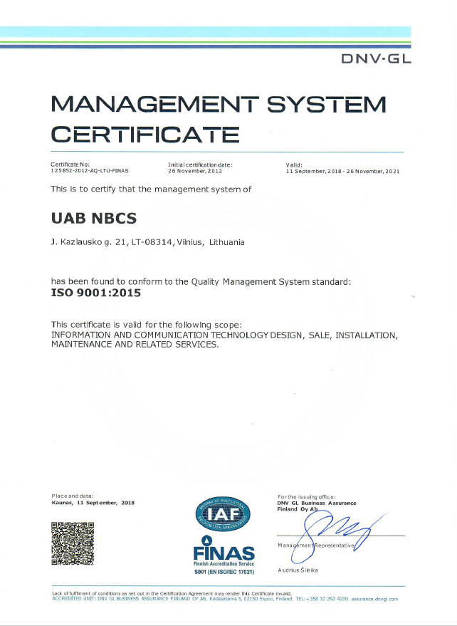 sertifikatas 9001.2015